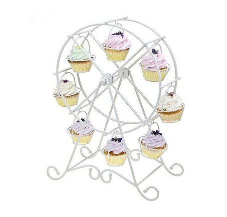 European Style Wedding Party Furnishing Accessories Dessert Serving Tray White Iron Ferris Wheel 8 Cupcakes Display Stands Cakes Holder Fashionstorm TTLE0003