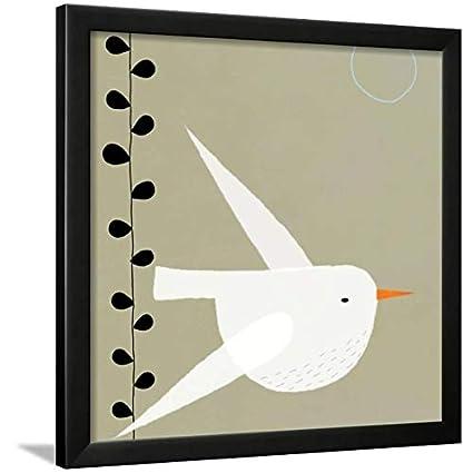 Amazon.com: ArtEdge White Bird Black Framed Wall Art Print, 24x24 in ...
