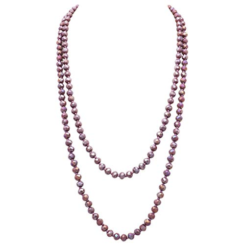 (Rosemarie Collections Women's Faceted Glass Crystal Beaded Long Strand Necklace and Stretch Bracelet Set (Light Amethyst Necklace Only))