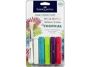 Faber Castell  Design Memory Craft Gelatos Color & Clear Stamp,  Tropical - 4 Colors Per Set