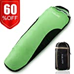 FARLAND Camping Sleeping Bag Adult For 0 Degree To 20 Degrees Fahrenheit 4 Season Envelope Mummy Outdoor Lightweight Portable Waterproof Perfect TravelingHiking ActivitiesGreen BlackRight Zip