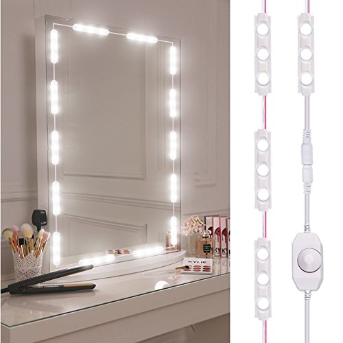 Viugreum Makeup Mirror Lights, Dimmable 60Leds LED Vanity Light Kits, 10FT 1200LM Daylight White 6000K Waterproof DIY Module Lights with Switch Dimmer for Bathroom Cosmetic Makeup Vanity Table