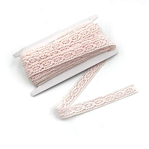 ELLAMAMA Cotton Lace Trim DIY Craft Delicate Ribbon 5/8 Inch Wide 10 Yards for Gift Wrapping Ribbon Tape, Light Pink color