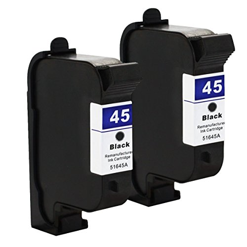 Tyjtyrjty 2x Black Compatible For HP45 Ink Cartridge 45A 51645A For Deskjet 1120c 1125c 1180c 1220c 1280 1600c 6122 9300 930c 932c 935c 950c 952c 955c 960 ()