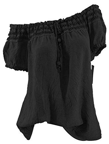 T Femme Blouse Manche Mousseline Ethnique Dnuds Epaules Elastique Noir Shirt BIUBIONG Courte Chemisier 0Oqfww