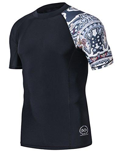 HUGE SPORTS Men's Splice UV Sun Protection UPF 50+ Skins Rash Guard Short Sleeves(Split, 2XL)