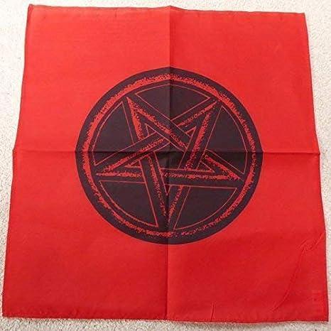 45cm rojo y negro pentagrama altar paño pagano pentáculo diseño colgante de pared regalo: Amazon.es: Hogar