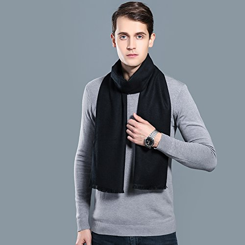 OHAYOMI Mens Winter Cashmere Scarf Fashion Formal Soft Scarves for Men(Black) by OHAYOMI (Image #4)