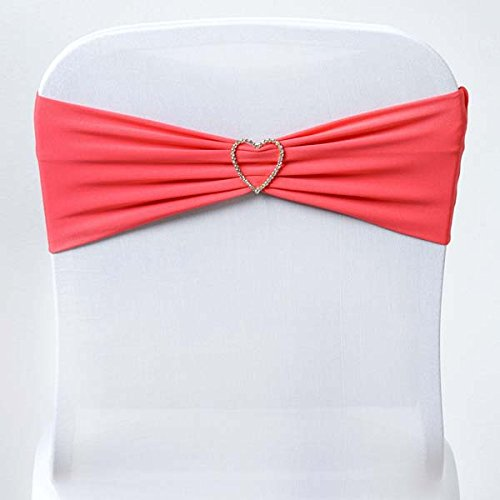 Efavormart 5pc x Sexy Spandex Chair Sash for Wedding Events Banquet Decor Chair Bow Sash Party Decor Supply - Coral