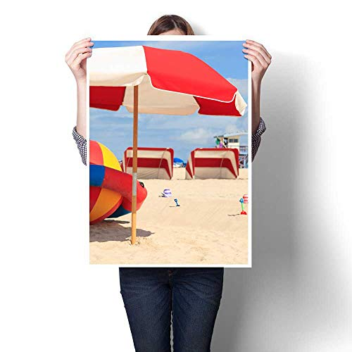 Anniutwo Decorative paintingsColorful South Beach Umbrella and Lounge Cabanas in MiamiModern Abstract Oil painting16 x24 (Cabana Beach Lounge)