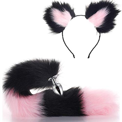 Micrkrowen Fashion Dress Up Pretended Games Halloween Cosplay Party Toy Love Gift Costume Set-Pink&Black Metal Fox/Dog Tail Plug+Short Plush Ears Cat Women -