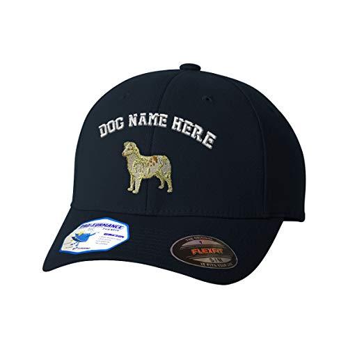 Custom Flexfit Baseball Cap Australian Shepherd A Embroidery Dog Name Polyester Hat Elastic - Dark Navy, Large/X Large Personalized Text - Australian Embroidery Shepherd