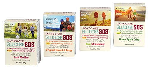 Glucose SOS Variety Pack – Glucose Powder for Low Blood Sugar, Instant Dissolve, Fast Absorbing, All Natural Dextrose for Diabetics, Endurance Athletes and Muscle Building