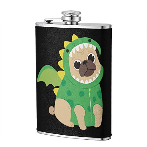 Flask For Liquor 8 Oz Leak Proof 304 Stainless Steel Leak Proof Slim Profile Pug Dog Wearing A Dragon Costume Design Classic Leather Wrapped Personalized Flask Gift ()