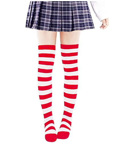 Anime Multicolor Preppy Over Knee Mizore Shimakaze Stripe Stockings (Red+White) -