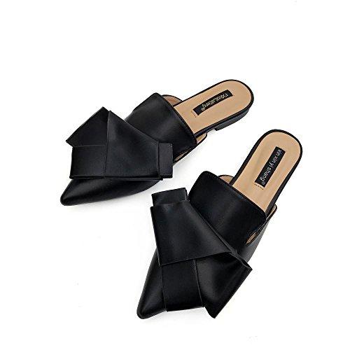 Dressy Women Casual Work Black On Loafer Slip Business Flat Slipper Mule Slide Mule 1nf0qO81r