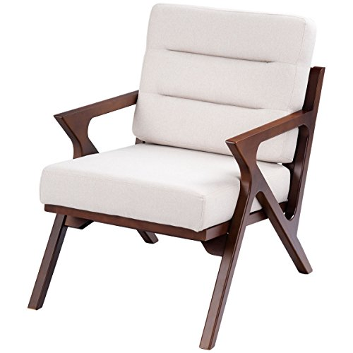 Upholstered Wicker Bar Stool - FDInspiration Beige Fabric Wooden Lounge Upholstered Arm Chair w/Removable Cushions