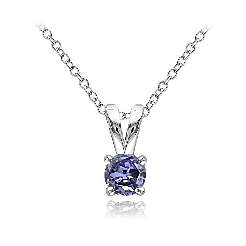 GemStar USA Sterling Silver Genuine Tanzanite Round Solitaire Necklace (Pendant Tanzanite)