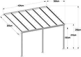 Oskar - Techo para terraza (aluminio, 434 x 303 cm): Amazon.es: Jardín