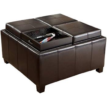 Amazon Com Weston Home Coffee Table Ottoman With 4 Trays