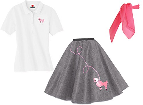 Hip Hop 50s Shop Adult 3 Piece Poodle Skirt Costume Set Grey Large -