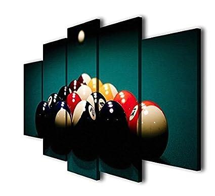 Amazon.com: HQ Art 5 Panels Billiards Ball Pool Snooker Printed ...
