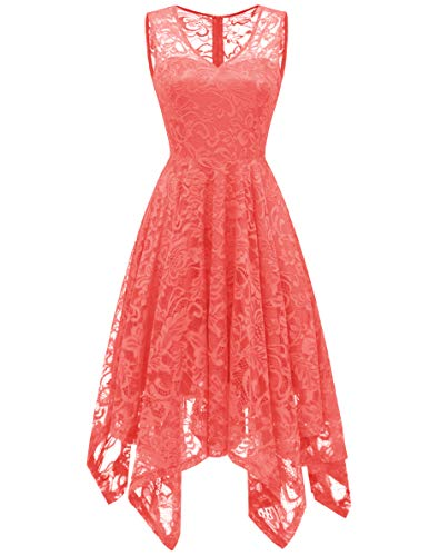 Meetjen Women's Elegant Floral Lace Sleeveless Handkerchief Hem Asymmetrical Cocktail Party Swing Dress Coral S