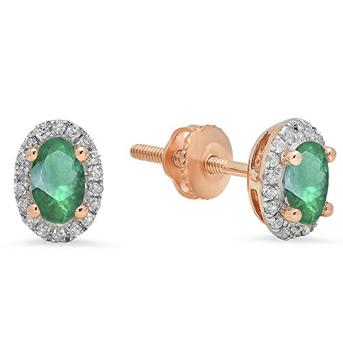 Emerald Oval 5x3mm (Dazzlingrock Collection 10K 5X3 MM Each Oval Lab Created Emerald & Round Diamond Ladies Halo Stud Earrings, Rose Gold)