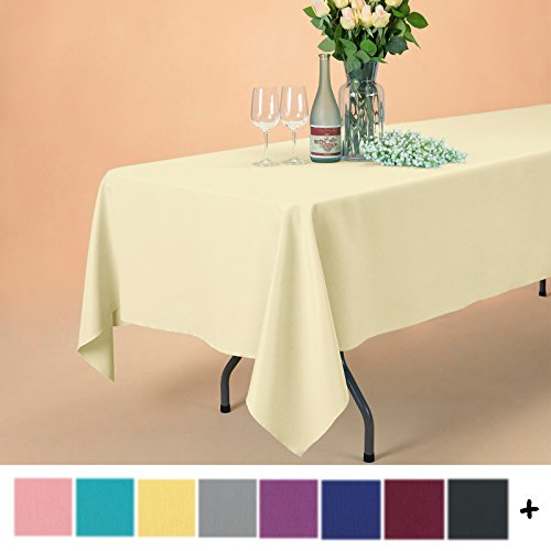 Remedios 70 x 120-inch Rectangle Polyester Tablecloth Table Cover - Wedding Restaurant Party Banquet Decoration, Light Yellow
