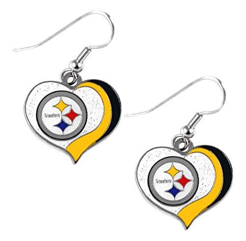 (aminco NFL Pittsburgh Steelers Women's Sports Team Logo Swirl Heart Glitter Earring Set, One Size, Multicolor)