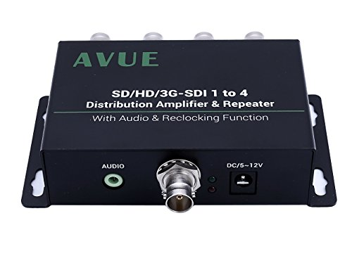 AVUE 3G-SDI/HD-SDI/SDI 1x4 Distribution Repeater & Extender with Re-clocking function, each one extends up to 350ft.