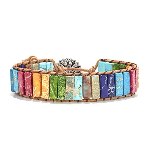 7 Chakra Nature Stone Bracelets Friendship Gemstone Bracelets Healing Stone Bracelets for Women Fashion Boho Bracelets Jewelry Yoga Bracelets Multicolor Bracelets Wrap Bracelet with Square Button