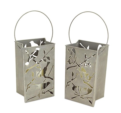Pack of 4 Battery Operated LED Flameless Candle Lantern Luminaries with Birds and Butterflies 9