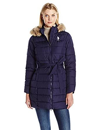 Amazon.com: U.S. Polo Assn. Women's Puffer Coat with Self