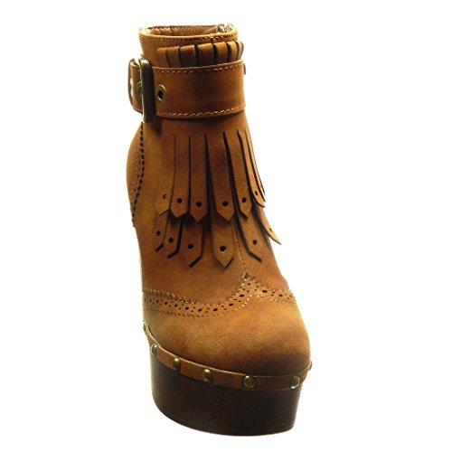 Angkorly - Chaussure Mode Bottine plateforme montante femme frange boucle clouté Talon haut bloc 11.5 CM - Camel