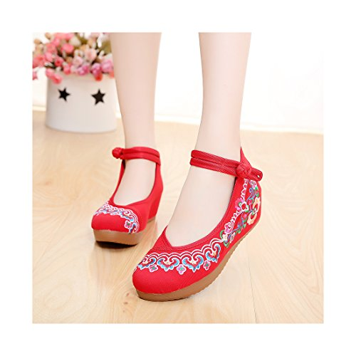 Chaussures Florales Chinoises Brodées Vintage Femme MINZUFENG Ballerines Mary Jane Ballerine Flat Ballet Cotton Loafer Rouge