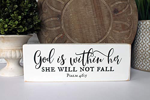 Wood Plaque Psalm 465 God is Within Her She Will Not Fall Blessing Block Scripture Graduation Baptism Wall Decor Wood Sign for Home Living Room Gardern -
