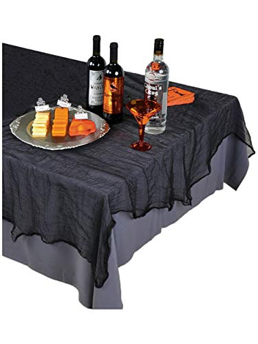 Amscan Creepy Halloween Party Black Cheesecloth Table Cover Decoration, Fabric, 60