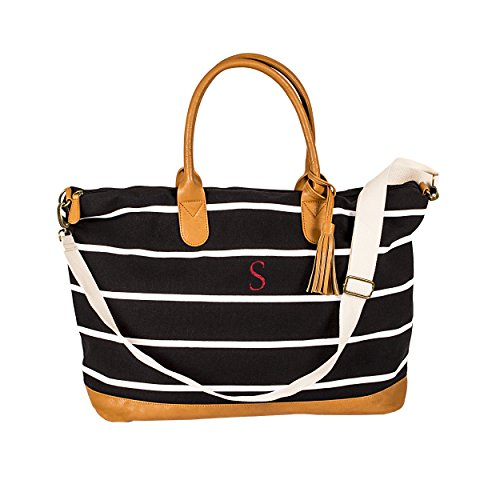 (Cathy's Concepts Personalized Black Striped Canvas Weekender Bag,)
