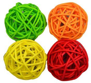 Rattan Ball (Barker Brand Wicker Rattan Cat Ball Toy Set Of 4)