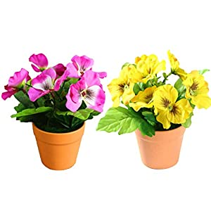 DAN&LAN 2PCS Artificial Flowers Fake Silk Pansy Arrangements in Pots Desktop Potted Bonsai for Home Office Decoration (Yellow + Dark Pink) 88