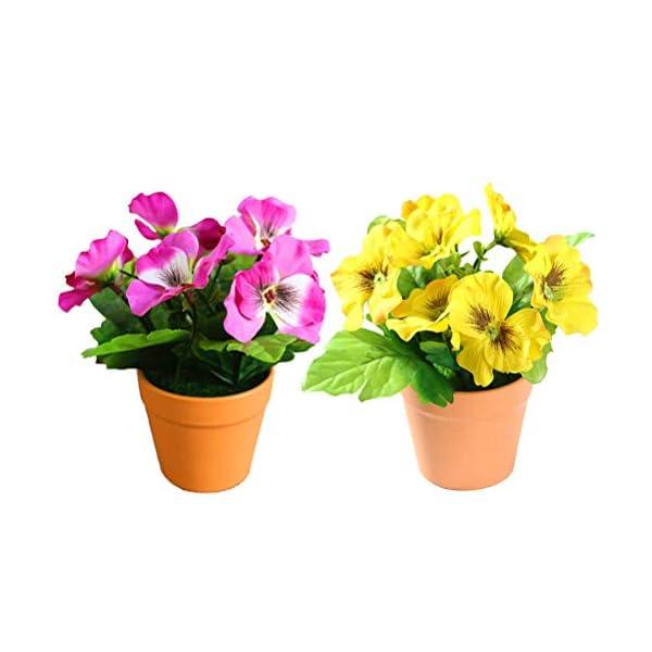DAN&LAN 2PCS Artificial Flowers Fake Silk Pansy Arrangements in Pots Desktop Potted Bonsai for Home Office Decoration (Yellow + Dark Pink)