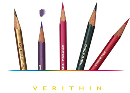 PRISMACOLOR VERITHIN Pencil, Artist Quality Hard Thin Lead Pencils, Box of 24, Assorted Colours (2427) Sanford