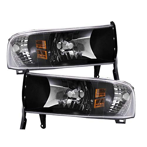For 94-01 Dodge Ram 1 Piece Crystal Black Pair Headlights Headlamps Amber Corner Reflector Lamp