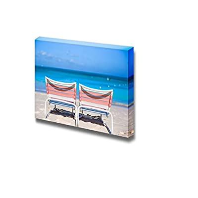 Canvas Prints Wall Art - Two Beach Loungers on Exotic Resort on White Sand Beach | Modern Wall Decor/Home Decoration Stretched Gallery Canvas Wrap Giclee Print. Ready to Hang - 16