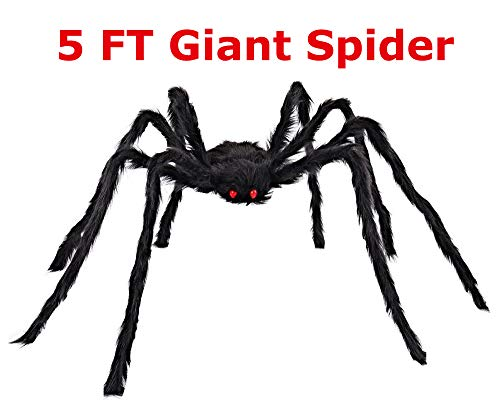 COOLJOY Giant Halloween Spider 1PCS 5FT(60 INCH) Halloween Decoration Virtual Realistic Hairy Spider -
