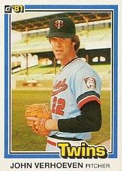 1981 Donruss Card (1981 Donruss Baseball Card #564 John Verhoeven)