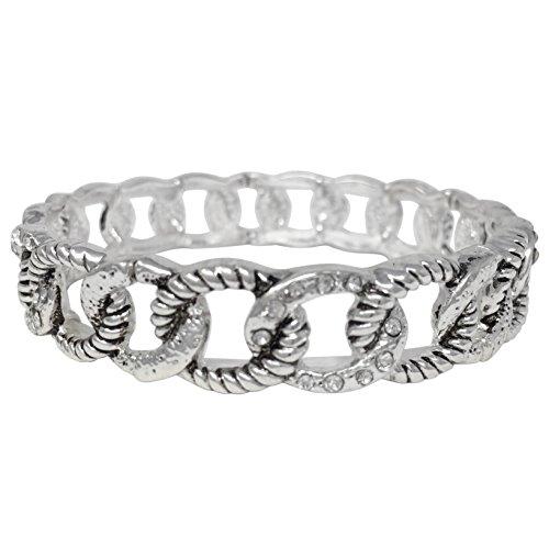 Gypsy Jewels Designer Inspired Trendy Simple Silver Tone Stretch Bracelet (Chain Link Look Rhinestones)