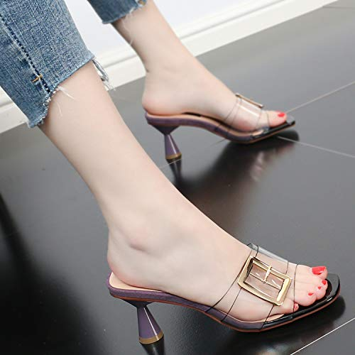 Fashion Buckle Belt Coarse Heel Wear Sandals Summer Square Head Heel Toes Transparent Violet 7Cm SFSYDDY High Xz8xF