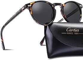 Vintage Round Sunglasses - Carfia Polarized Sunglasses for Women Men
